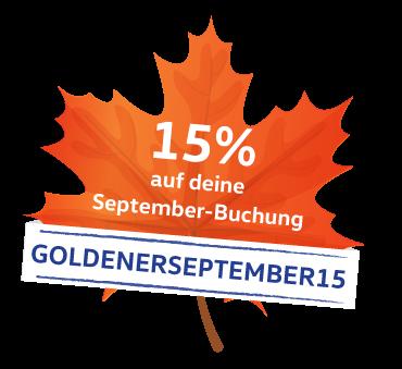 Rabattcode 15% goldener September